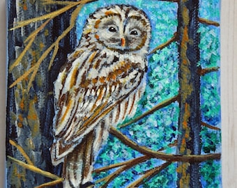 Owl Painting, Barred Owl Wall Art, Woodland Owl, Gift For Owl Lover, Owl Miniature Painting, Hand-Painted, Wildlife Painting