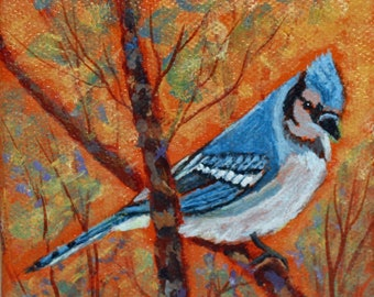 Blue Jay Bird Acrylic Painting, Miniature Painting 4 x 4 inches, Hand Painted, Small Canvas Art, Bird Lover Gift, All Season Ornament