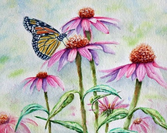 """Monarch Butterfly Original Watercolor Painting, 12 x 9"""", Cone Flowers Spring Painting, Pink, Purple, Green, Orange, Yellow"""
