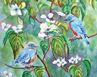 Original Blue Birds in Dogwood Tree Watercolor Painting, Spring Bird Wall Art, Bird Lover Gift, White Blooms