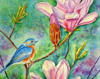 Bluebird in Magnolia Tree, Original Watercolor Painting,  Spring Wildlife Art, Tulip Magnolia Painting