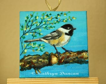 "Chicadee Bird - Original Acrylic Painting - small painting, mini canvas 3x3"", Spring, blue, green, black, brown"