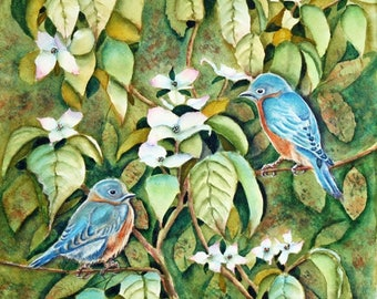 Eastern Bluebirds in White Dogwood Tree Original Watercolor Painting, Bird Wildlife Spring Painting, green, blue, white