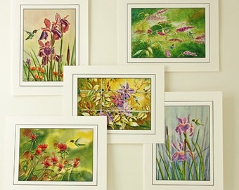 """Hummingbirds Note Card Set, Watercolor Note Cards, Blank Inside, 5 Different Images, 4.25"""" x 5.50"""", Hostess Gift"""