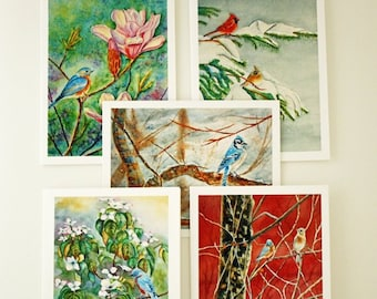 Birds Watercolor Prints, Note Cards Set of 5, Blank Note Cards, Hostess Gift, Art Note Cards, White Envelopes