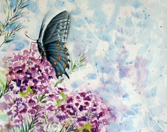 """Black Swallowtail Butterfly Original Stylistic Watercolor Painting, 12 x 9"""", Purple Verbena Floral Spring Painting, Purple, Blue, Green"""