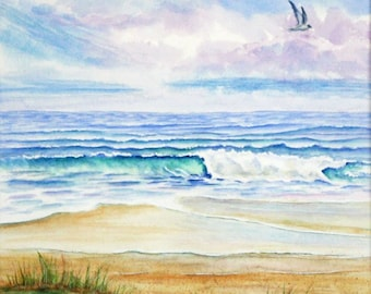 Ocean Beach Waves Original Watercolor Painting, Large Beach Painting, Beach Wall Art, Seascape Painting