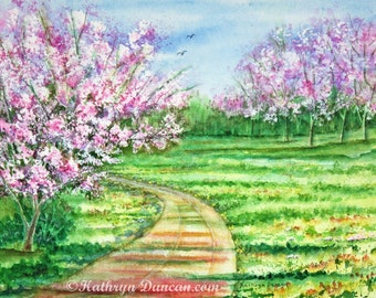 Cherry Blossoms Landscape Original Watercolor Painting, Spring Trees Landscape Painting, 12 x 16 image matted to 16 x 20