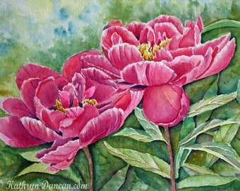 Red Peony Flower Original Watercolor Painting, Spring Watercolor Painting, 12 x 16 inches matted to 16 x 20, Magenta, Red, Green, Blue