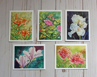 Flowers Watercolor Note Cards, Set of 5, Assorted Floral Cards, blank inside, Hostess Gift, Roses, Irises, Lilies, Peonies, Magnolias