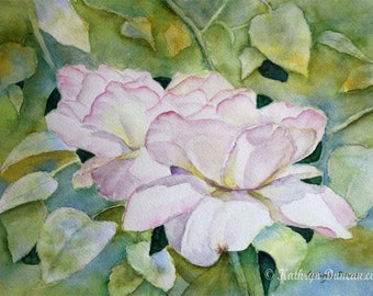 """Original White Peace Roses Watercolor Painting, Spring Painting, White Watercolor Flowers, image size 9 x 12"""" matted to 12"""" x 16"""""""