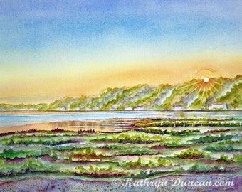 Original Lake Sunrise Watercolor Landscape Painting, Beach Wall Art, Michigan Art, image 12 x 16 inches, matted to 16 x 20 inches