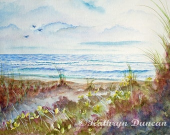 "Original Ocean Beach and Sand Dunes Watercolor Painting, Ocean Watercolor Painting, 11 x 14"" image matted to 16"" x 20"""