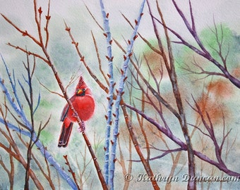 """Red Cardinal in Bare Trees Original Watercolor Painting, Spring Watercolor Red Cardinal Bird Painting, 9"""" x 12"""" matted to 12"""" x 16"""""""