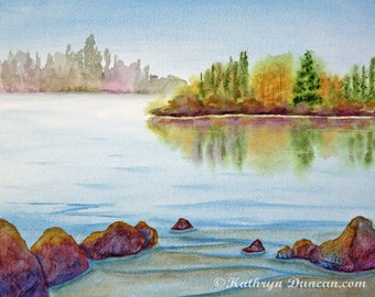 Original Autumn River Watercolor Landscape Painting, Fall Watercolor Painting, 11 x 14 image, matted to 16 x 20