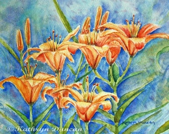 Lilies Original Watercolor Painting | Flower painting | floral watercolor painting | floral wall art | orange flowers / Blue / Turquoise