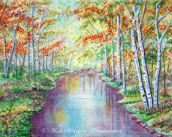 Original Autumn Landscape Watercolor Painting,  White Birch Trees and River Painting, Contemporary Art, Orange, Yellow, Green, Purple