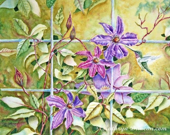"""Original Hummingbird and Clematis Flowers Watercolor Painting, 12 x 16"""" image, Matted to 16 x 20"""", Wildlife Painting, violet, purple, green"""