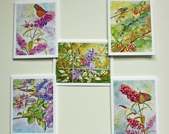 Butterfly, Hummingbird, and Birds Note Cards,  Set of 5, Watercolor Prints , Blank Note Cards, Hostess Gift, White Envelopes