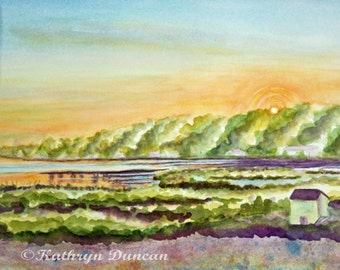 Original Lake Sunrise Watercolor Painting, 9 x 12 matted to 12 x 16 , Landscape Painting,  blue, green, orange, yellow, violet