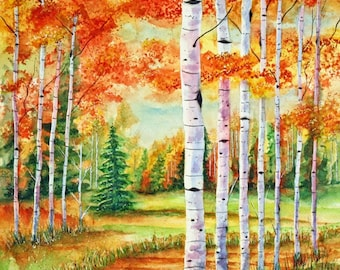 Original Autumn Birch Trees Landscape Watercolor Painting,  Nature Wall Art, Forest Painting, Nature Lover Gift