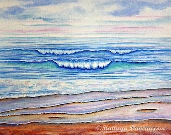 "Ocean Beach Waves Original Watercolor Painting, Summer Landscape, Beach Wall Art, 11""x 14"" image matted to 16""x 20"""
