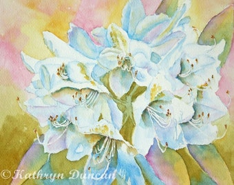 """Original White Rhododendrons Floral Watercolor Painting, Spring Painting, White Watercolor Flowers, image size 8 x 10"""" matted to 11 x 14"""""""