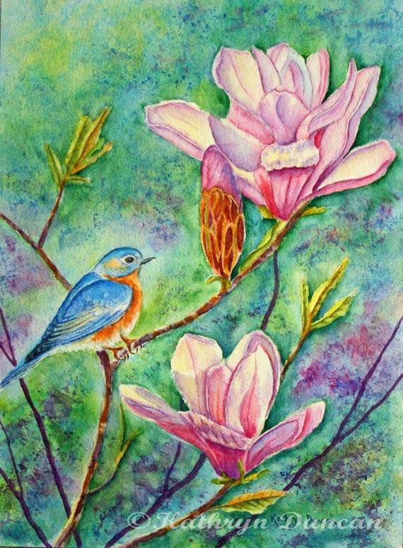 236076e8b72 Eastern Bluebird   Original Watercolor Painting   12 x 9