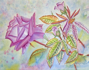 """Lavender Roses Original Watercolor Painting, Spring Floral Painting, 12 x 16"""" Image, Matted to 16x20, Flower Wall Art, Purple, Green, Blue"""