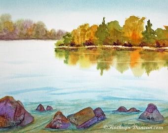 Autumn Landscape Painting, Original Watercolor Painting, Nature Wall Art, Lake Painting