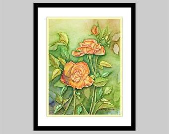 Orange Roses Watercolor Painting Print, Orange, Yellow, Green, Floral Painting, 5x7, 8x10