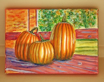 Original Fall Pumpkins Landscape Acrylic Painting by Kathryn M Duncan, 5x7,inches, miniature painting