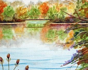 Autumn Landscape Watercolor Painting, Huron River and Bridge Watercolor Painting, 8 x 10 image, matted to 11 x 14