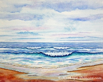 Ocean Beach Waves Original Watercolor Painting, Home Decor Wall Art, Summer Seascape Painting, 11x14 image matted to 16x20