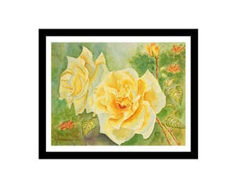 Yellow Roses Watercolor Painting Print, yellow, green, orange, 5x7, 8x10
