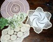 Doilies 3 Crocheted Doily  Pink Doilys White Doily Lot Vintage A40