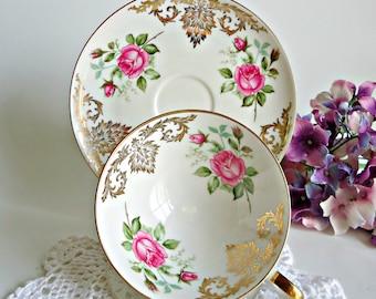 Bavaria Alka Kunst TeaCup and Saucer Vintage Tea Cup  Bone China Teacup and Saucer  Floral