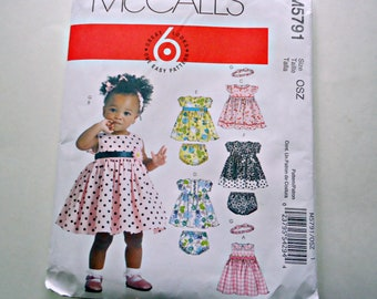 McCall's M5791 Sewing Pattern Toddler Girl's Dress Pattern Dress and Panties Girls Size S - M - L - XL Uncut  EASY