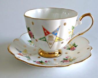Teacup and Saucer Masonic Tea Cup Kent Bone China Tea Cup Mason