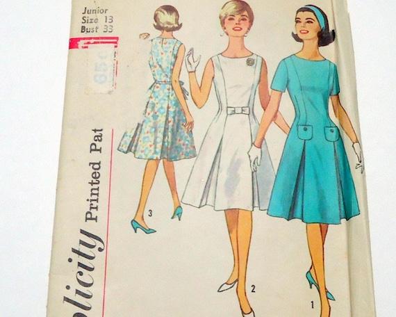 Vintage Simplicity 4920 Princess Seam Inverted Pleat Sleeveless Hourglass A Line Dress Size 13