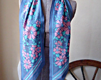 Vintage Scarf Designer Monique Martin Long Steel Grey Blue Floral Scarf Fashion Scraves   B116