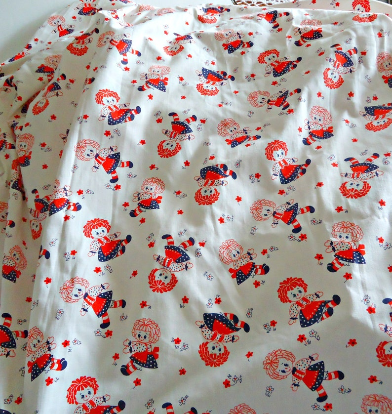 Vintage Raggedy Ann Curtains 2 Panels Lined Pleated