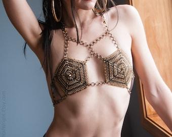 Brass chainmail bikini top