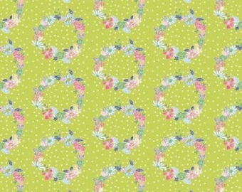 Fabric by the Yard - Daisy Days - Ring A Rosie in Green - from Riley Blake