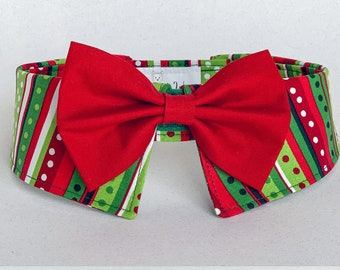 Exclusive Christmas Dog Shirt Collar with Your Choice of Necktie or Bow Tie, Removable Dog Tie, Matching Christmas Collar and Tie