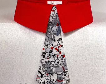 Gray Dogs with Red Bones Dog Necktie or Dog Bow Tie on White Background, Therapy Dog Tie, Fun Dog Tie, Your Choice of Collar Color