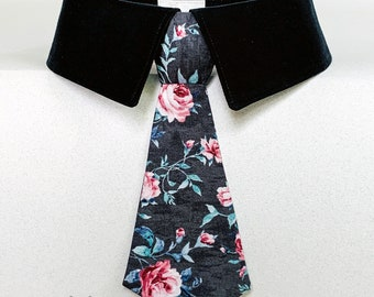 Wedding Dog Tie with Burgandy Roses on Light Black Background, Formal Dog Bow Tie or Necktie, Dog Ring Bearer Tie, Party Dog Tie