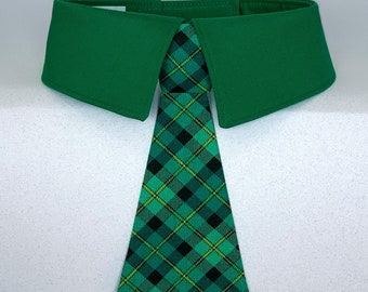Green Plaid St. Patrick's Day Dog Tie or Dog Bow Tie, Detachable St. Patrick's Green Plaid Dog Necktie, Your Choice of Collar Collar