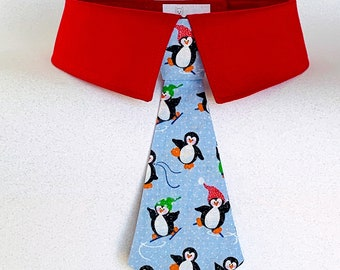 Winter Penguins Detachable Dog Tie, Dog Bow Tie or Necktie with Your Choice of Collar Color, Christmas Penguins Skiing and Skating