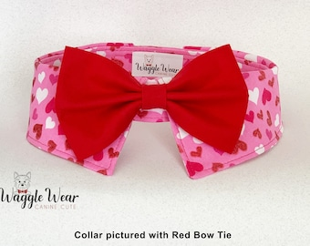 Exclusive Valentine's Dog Shirt Collar with Your Choice of Necktie or Bow Tie, Removable Dog Tie, Matching Valentine's Collar and Tie